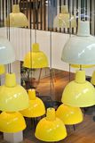 The ceiling lamps. The modern colored ceiling lamps stock photography