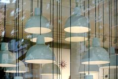 The ceiling lamps. The modern colored ceiling lamps stock photos