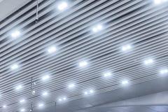Ceiling led lighting. Modern led ceiling lighting on commercial building lobby ceiling Royalty Free Stock Photo
