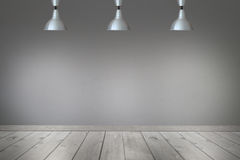 Ceiling light in the room and light shining to wall and floor. Royalty Free Stock Photo