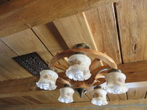 Ceiling light on wooden beams Stock Photos