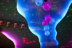 Ceiling lighting colorful spotlights with decorated balloons Royalty Free Stock Photos
