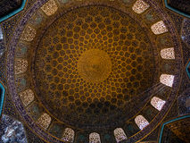 Ceiling of the Loftollah mosque, Iran. The spectacular ceiling of the Loftollah mosque, one of the mosques on the main square of Esfahan, Iran (Persia royalty free stock images