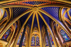 Ceiling lower chapel. Beautiful lower chapel of the Sainte-Chapelle (Holy Chapel), a royal medieval Gothic chapel in Paris, France, on April 10, 2014 Stock Image