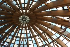 Skylight Ceiling. A ceiling made of skylights with wooden beams stock photo