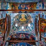Ceiling of the main church of Tismana nun monastery Stock Photos