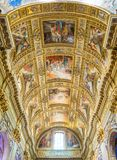 The ceiling of the main nave in the Basilica of Sant`Andrea della Valle in Rome, Italy. royalty free stock images