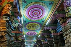 Ceiling Meenakshi Sundareswarar Temple in Madurai Stock Photo
