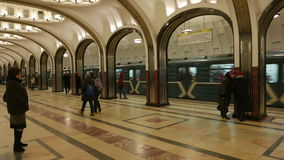Ceiling mosaic on the subway station Mayakovskaya in Moscow. MOSCOW, RUSSIA. 17 JAN 2015. Mayakovskaya subway station. Editorial video. Shooting in 4K and stock footage