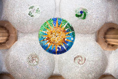 Ceiling with mosaic sun at Guell Park, Barcelona Stock Photos