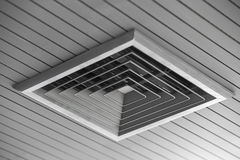Ceiling Mounted Air Conditioner. Ceiling Mounted Air Conditioner inside the room Stock Photo