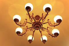 Ceiling mounted crystal chandelier Royalty Free Stock Photos