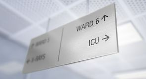 Hospital Directional Sign. A ceiling mounted hospital directional sign highlighting the way towards the intensive care unit ward - 3D render royalty free illustration