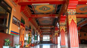 Colorful ceiling and pillars of Namo Buddha Monastery royalty free stock images