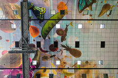 Ceiling of the new artistic Markthal in Rotterdam Royalty Free Stock Images