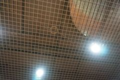 Ceiling noise panels perforated plastic polymer reduction, stock images