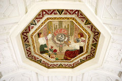 Ceiling of old metro station in Moscow. Ceiling of old metro station Belorusskaya in Moscow. The Soviet style Stock Image