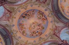 ceiling painting in the Abbey Library stock photo