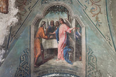 Ceiling painting on the biblical theme in an abandoned ancient temple Stock Photography