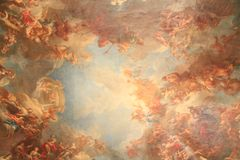 Ceiling painting in Chateau of Versailles. ,Paris,France stock image