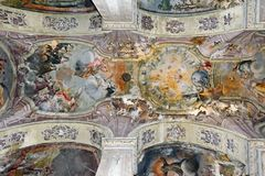 Ceiling painting of The Church of the Claris stock photo