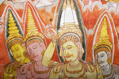 Ceiling Painting at Dambulla Rock Temple Royalty Free Stock Photos