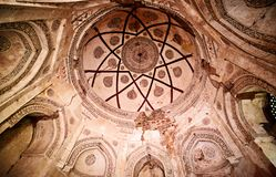 Ceiling painting , Delhi. Ceiling painting inside Firuz Shah Tughlaq's Tomb, New Delhi. The tomb of Firuz Shah Tughlaq is located in the Hauz Khas Complex in New stock photo