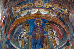 Ceiling painting in old church. Elaborate ceiling painting in an old orthodox church Royalty Free Stock Photo