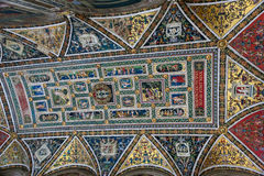 Ceiling painting in the old church. Italy royalty free stock photo