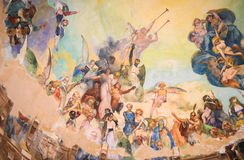 Ceiling painting in Rapallo. Ceiling painting of monopteros in Rapallo, Italy royalty free stock photography