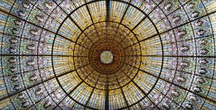 Ceiling at Palau de la musica royalty free stock photo