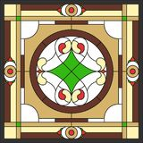 Ceiling panels stained glass window, in square frame. Ceiling panels stained glass window. Abstract Flower, swirls and leaves in square frame, geometric ornament Stock Photos