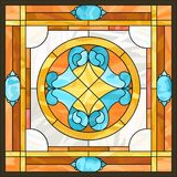 Ceiling panels stained glass window, in square frame. Ceiling panels stained glass window. Abstract Flower, swirls and leaves in square frame, geometric ornament stock illustration