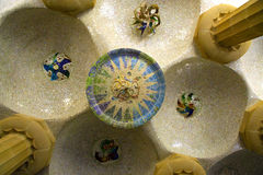 Ceiling in Park Guell Royalty Free Stock Images