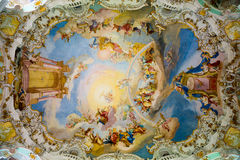 Ceiling in Pilgrimage Church of Wies. Interior view. Bavaria, Germany. Royalty Free Stock Images