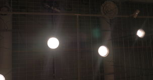 Ceiling with pipes and lamps stock footage