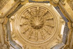 Ceiling in Ranakpur Chaumukha temple Royalty Free Stock Photo