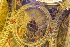 Ceiling religious painting from Chiesa del Gesù church. From Naples city in Italy stock images