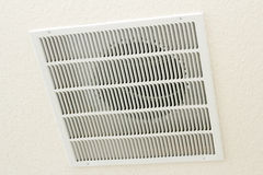 Ceiling Return Air Vent. Large square white return air vent located in the ceiling of a home Royalty Free Stock Image