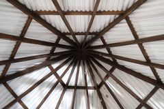 Ceiling roof in pentagon shape. Structure of ceiling roof in pentagon shape royalty free stock photo