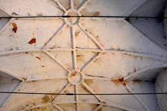 Ceiling. Ruins. Inside fortified medieval saxon evangelic church in the village Felmer, Felmern, Transylvania, Romania. Stock Image