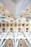 Ceiling of Sagrada Familia cathedral. Beautiful white celling of Sagrada Familia cathedral Stock Photography