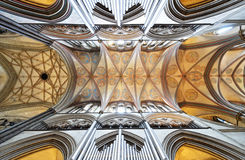 Ceiling of Salisbury Cathedral. With frescos and organ Stock Image