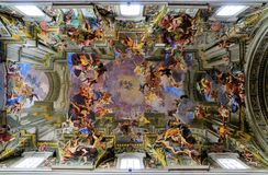 Ceiling of the Sant Ignazio di Loyola. The Ceiling of the Sant' Ignazio di Loyola in Rome. The ceiling was painted by Andrea del Pozzo and is famous for its royalty free stock images