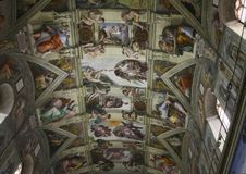 Ceiling of the Sistine chapel in the Vatican stock photography