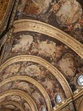 Ceiling of St John Co Cathedral painted by Mattia Preti, Valletta, Malta. The high arched Ceiling of St John Co Cathedral painted by Mattia Preti, Valletta stock images