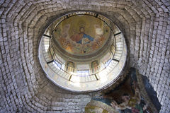 Ceiling of the St. Nicholas Church in Condrita. Ceiling view of the St.Nicholas Church (Sfantul Ierarh Nicolae) from the Condrita Monastery in Moldova. The Stock Photos