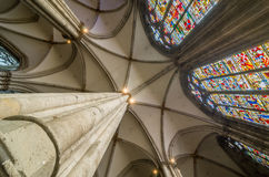 Ceiling and stained glass of the Cologne Cathedral. Germany. Royalty Free Stock Photos