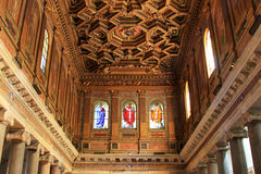 Inside of the Santa Maria in Trastevere, Rome Royalty Free Stock Photo