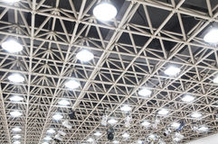 The ceiling steel beams. With pendant flood lamps royalty free stock images